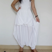 SALE30%OFF Women White - Smart Skirt/Pant, Comfortable,Unique Styling Wide Leg, In Cotton Jersey  Thaisaket.