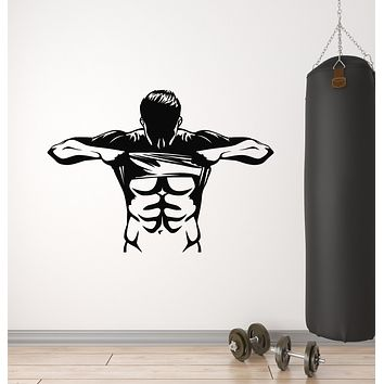 Vinyl Wall Decal Sport Gym Bodybuilding Athlete Muscle Stickers Mural (g3034)