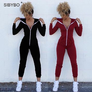 Women Winter Jumpsuits 2016  Long Sleeve Hooded Outfits  zipper Cotton Sexy Club Wear Bandage Bodycon jumpsuit