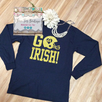 Personalized Long Sleeve Football T-Shirt with Number the Perfect Football Mom or Football Girlfriend T-Shirt Monogrammed Gifts