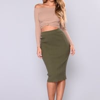 Guilty Pleasure Ribbed Skirt - Olive
