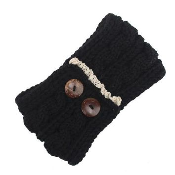 Women Knitting Double Button Headband For Winter Twist Crochet Keep Warm Hairband Head Wrap For Women Female Hair Accessories