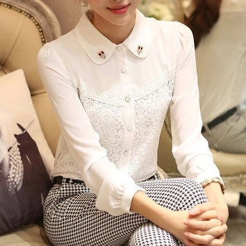 Spring Autumn White Blouse Women Chiffon Shirt Lace Embroidery Owl Diamond Puff Sleeve Plus Size S-XXL blusas de renda T5532