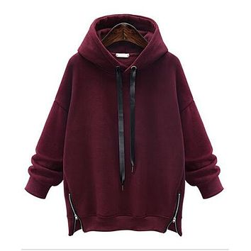 Women Clothing Loose Warm Long-sleeved Pullover Sweatshirt Casual Tops