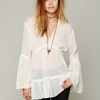 Free People Swiss Dot Bell Sleeve Blouse