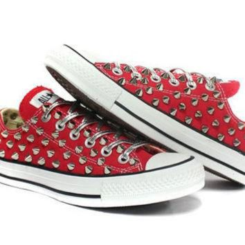 ESBONB Studded Converse low silver stud with custom design by customduo