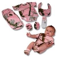 Realtree Pink Camo Baby Gift Set 5Pc Creeper Booties Bib Pad Bottle (0-6 Month)