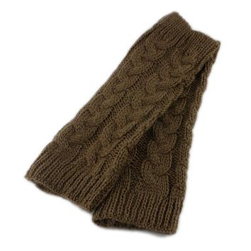 Thick warm and long knitted wool twist half finger gloves cuff sleeves fingerless socks men and women autumn and winter