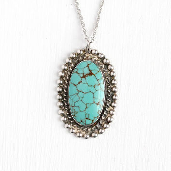 Vintage Southwest Necklace - Sterling Silver Simulated Turquoise Pendant - Retro 1970 Native American Tribal Blue Green Charm Silver Jewelry