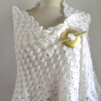 Christmas gift -Crochet shawl wedding bridal shawl white shawl white scarf mom gift