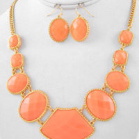 Coral Statement Necklace & Earring Set