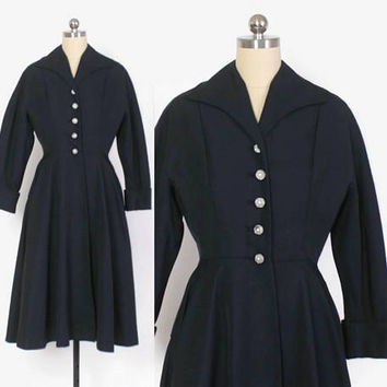 Vintage 40s Princess COAT / 1940s Mid-Weight Navy BLue Faille Fit & Flare Coat XS - S