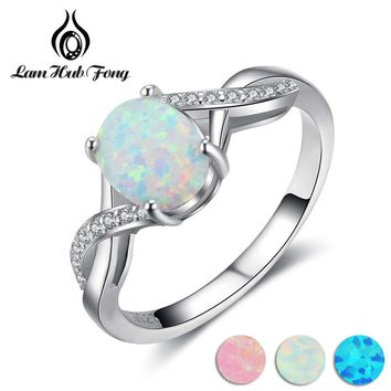 Women 925 Sterling Silver Rings Twisted Pattern Design With Oval White Fire Opal Best Gift For Girls / Mom / Wife (Lam Hub Fong)