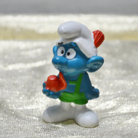 Vintage Smurf Smoking Pipe with Lederhosens - Tyrolese