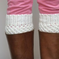 Crochet Boot Cuffs In Cream - Vanil.. on Luulla