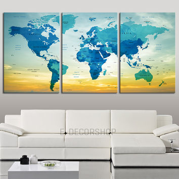 Push Pin Travel World Map Wall Art Print -  Blue World Map with Names of the Countries on Sky Background