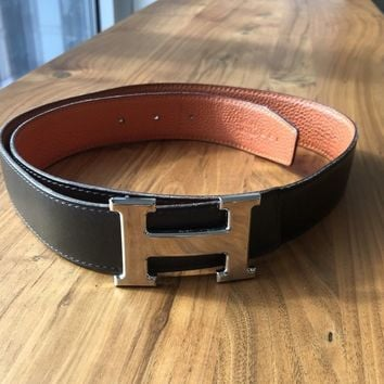 "HERMES ""H"" brown leather silver buckle belt - reversible - size 85 - $1300"