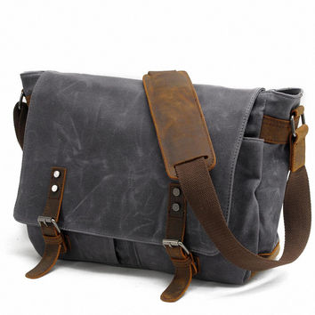 2017 Fashion military Canvas Leather Men shoulder bag Crossbody Bag Men messenger bag canvas Leisure Bag Sling Casual Handbag