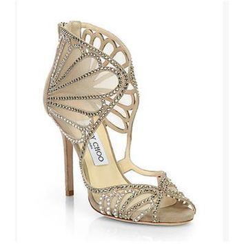Jimmy Choo Women Fashion Scalloped Heels Shoes Sandals-2