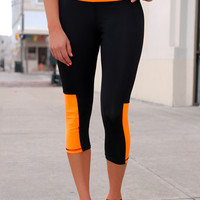 Too Fit to Quit Workout Capris - Neon Orange