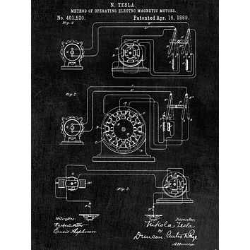 Tesla Operating Electric Motors Map Poster - Patent Poster - Office Art - Wall Art