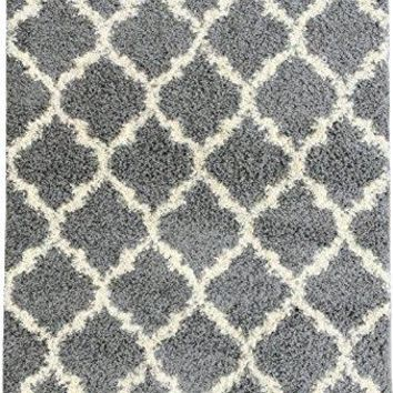 "Ottomanson Ultimate Shaggy Collection Moroccan Trellis Design Shag Rug Contemporary Bedroom and  Living room Soft Shag Rugs, Grey, 3'3"" L X 4'7"" W"