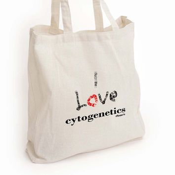 I love cytogenetics canvas tote, chromosomes med lab tech gift
