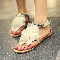 Handmade Bridal Shoes Comfortable Flats sandal by BlingStyle