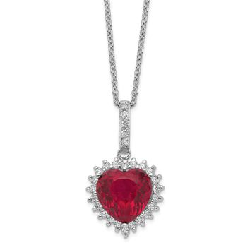 Sterling Silver Heart 100-facet Synthetic Ruby/CZ 18in Necklace