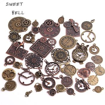 SWEET BELL 20pcs Vintage Metal Zinc Alloy Mixed Clock Pendant Charms Steampunk Clock Charms for Diy Jewelry Making H3012