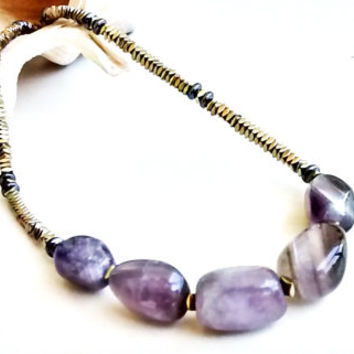 Amethyst necklace - Gold hematite gems - Women Neckless - Gift for Women - Women jewelry - Boho Necklace - Boho Amethyst Necklace