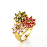 MLOVES Women's Classical Delicate Bright Flowers Decorated Ring