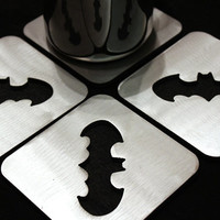 Batman Coasters Set of 4, Steel, Dark Knight