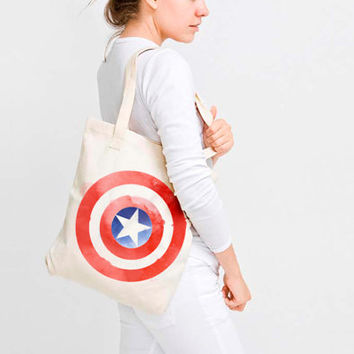 Watercolor Captain America Shielf Canvas Tote Bag  - Marvel Inspired