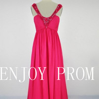 A-line Strap Hand-Made Flower Chiffon floor-Length Bridesmaid/Evening/Prom Dress