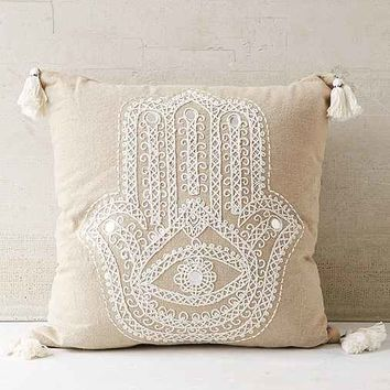 Plum & Bow Embroidered Hand Pillow