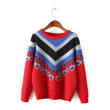 Winter Vintage Pattern Mosaic Knit Pullover Sweater [6512921479]