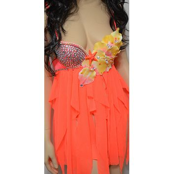 Neon Orange Baby doll dress Mermaid Shell Cosplay Dance Costume Rave Bra Rave Halloween