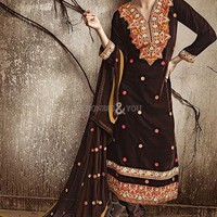 floor length pakistani dress design 3 4 sleeves aline cut Embroidery lace party suit