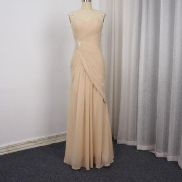 Beaded Cap Sleeve Chiffon Mother of the Bride Dresses Pleated Crystal Formal Wear Party Dress