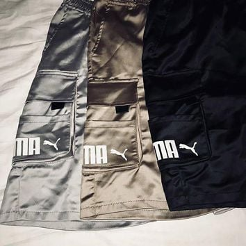 PUMA men and women with the same kind of love poplin fabric cargo shorts big pocket leisure sports loose version of the five-point pants