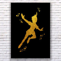 Peter Pan Gold Art Print Instant Download Printable Black Edition