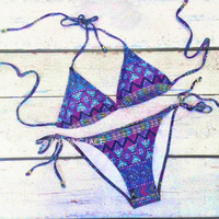 Sandy Waters Aztec Bikini Tribal Neon Purple