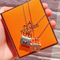 Hermes Women 925 Silver Necklace High Quality Bag Chain B-LFL-WX6H Gold/Silver