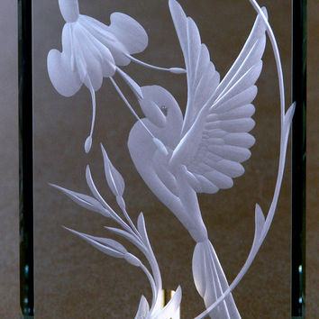 Crystal Freestanding Hand Engraved Hummingbird, Wedding, Home Decor, Mother's Day Gifts
