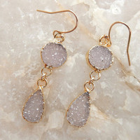 Double White Druzy Earrings Circle Teardrop 24K Gold Crystal Quartz Dangle Drop Drusy - Free Shipping Jewelry