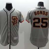 San Francisco Giants #25 Barry Bonds Majestic Elite Gray Flexbase Collection Player Jersey Stitched MLB Baseball Jersey