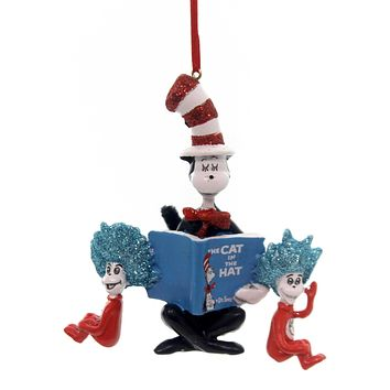 Licensed Cat In The Hat Reading Book Resin Ornament