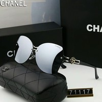 Chanel Popular Women Men Personality Summer Sun Shades Eyeglasses Glasses Sunglasses #4 Silvery Grey I-A-SDYJ