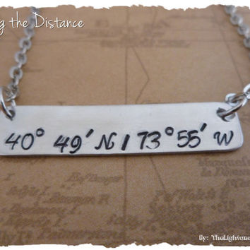 Personalized Coordinates - Latitude Longitude - Bar Necklace Hand Stamped Jewelry